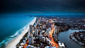 Cityscapes australia nighttime gold coast wallpaper
