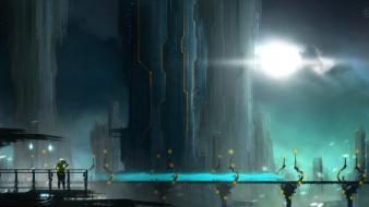 Cityscapes futuristic fantasy art science fiction artwork Wallpaper