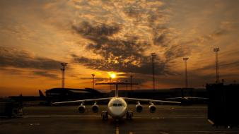 Clouds aircraft flight evening skies Wallpaper