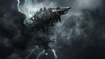 Dark storm ships digital art airship tesla wallpaper