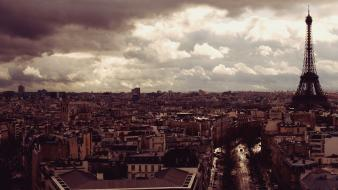 Eiffel tower paris clouds vintage view Wallpaper
