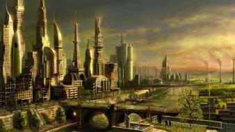 Fantasy drawings cities wallpaper