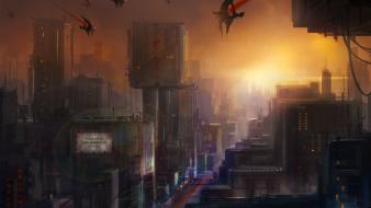 Futuristic fantasy art artwork cities christian quinot wallpaper