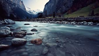 Landscapes nature snow valley rocks switzerland rivers wallpaper