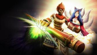 League of legends fan art ahri wukong wallpaper