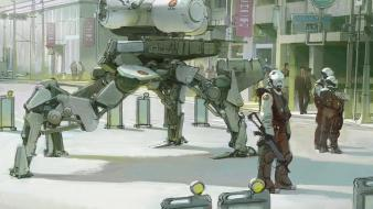 Mech people digital art science fiction artwork wallpaper