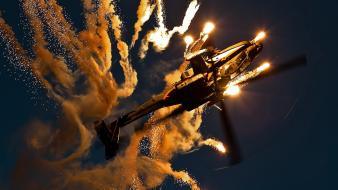 Military helicopters flares stunt flying ah-64d wallpaper