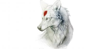 Minimalistic princess mononoke wolves wallpaper