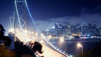 Night lights bridges skyscrapers roads cities wallpaper