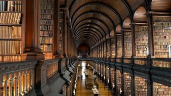 Old room library ireland books hallway college dublin wallpaper