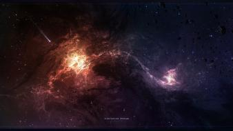 Outer space stars digital art wallpaper