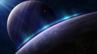 Outer space stars planets aurora digital art moons wallpaper