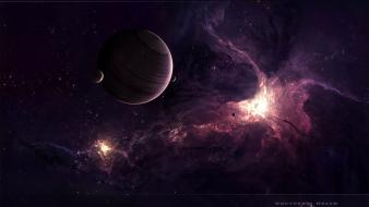 Outer space stars planets digital art moons nocturnal wallpaper
