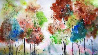 Paintings trees artwork watercolor Wallpaper