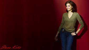Red background castle tv series kate beckett wallpaper