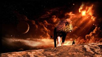Stars family animals planets artwork lions children Wallpaper