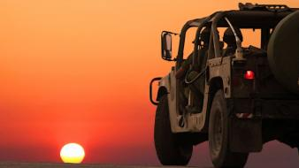 Sunset military cars israel idf wallpaper