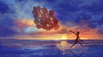 Sunset paintings artwork balloons seascapes wallpaper