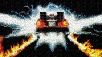 Time machine artwork vehicles photomosaic delorean dmc-12 wallpaper