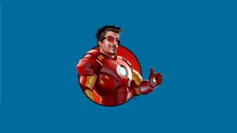 Tony stark thumbs up simple background blue wallpaper