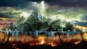 Trees fire hell rocks islands artwork lightning Wallpaper