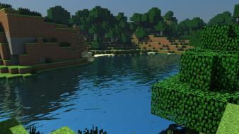 Trees forest dirt minecraft cinema 4d tapeta wallpaper