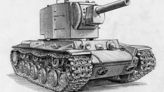 War ii drawings heavy tank russian kv-2 Wallpaper