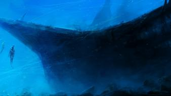 Water ocean skeletons eerie artwork shipwrecks underwater wallpaper