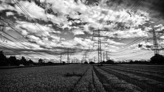White clouds landscapes germany grayscale power lines wallpaper