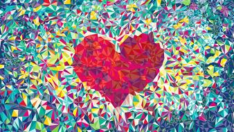 Abstract love shapes artwork hearts wallpaper