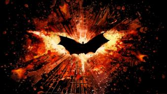 Batman explosions the dark knight rises logo wallpaper