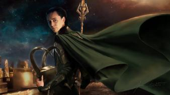 Capes helmets loki gods norse thor (movie) sceptres wallpaper