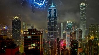 Cityscapes hong kong national geographic drawings lightning cities wallpaper