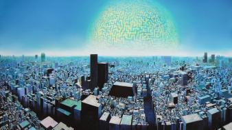 Cityscapes planets japanese digital art artwork wallpaper