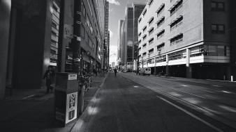 Cityscapes streets downtown national geographic grayscale toronto Wallpaper