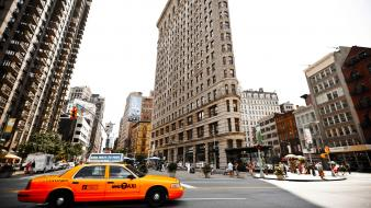 Cityscapes streets urban usa new york city taxi Wallpaper