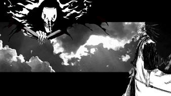 Clouds hollow bleach zaraki kenpachi grayscale menos grande wallpaper