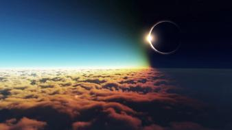 Clouds sun outer space eclipse wallpaper