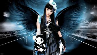 Dark angels black hair flower in angel wallpaper