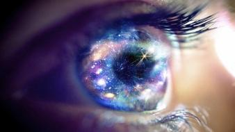 Eyes outer space stars galaxies wallpaper