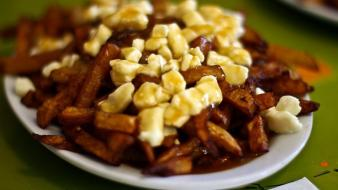 Food cheese french fries potatoes poutine wallpaper