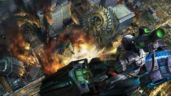 Guns dystopia fire destruction science fiction artwork Wallpaper