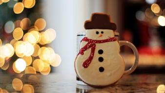Happy christmas bubbles noel smiling snowman wallpaper