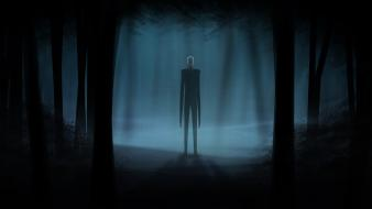 Horror video games trees dark forest suit slenderman wallpaper