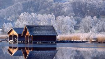 Houses lakes landscapes trees winter wallpaper