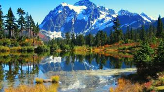 Ice mountains landscapes nature trees forest lakes natural Wallpaper