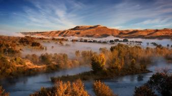 Landscapes nature trees fog national geographic rivers wallpaper