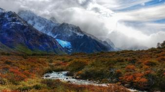 Mountains clouds landscapes argentina streams andes wallpaper
