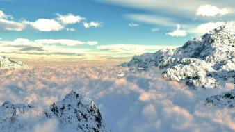 Mountains clouds snow patterns cover veil azure wallpaper