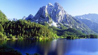 Mountains landscapes nature forest lakes Wallpaper